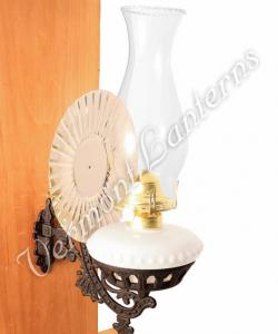 Victorian Oil Lamp - Opal w/Reflector Wall Mount