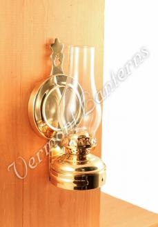 Hurricane Oil Lamps - Brass Mini XL Wall Lamp 7""