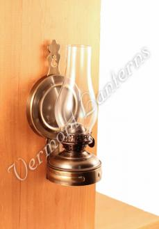 Hurricane Oil Lamps - Antique Brass Mini XL Wall Lamp 7""