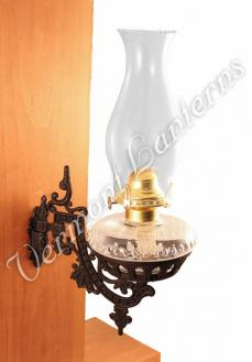 Oil Lamps - Clear Glass w/Cast Iron Wall Bracket