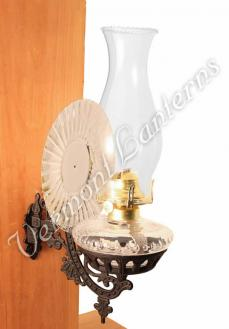 Victorian Oil Lamp - Clear w/Reflector Wall Mount