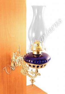 Hurricane Oil Lamps - Cobalt Glass w/Brass Wall Bracket