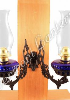 Dual Oil Lamp - Cobalt Blue w/Cast Iron Bracket