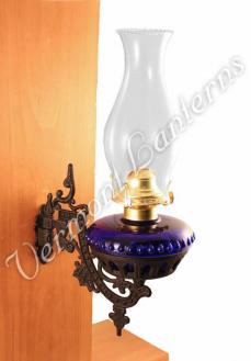 Oil Lamps - Cobalt Blue Glass w/Cast Iron Wall Bracket