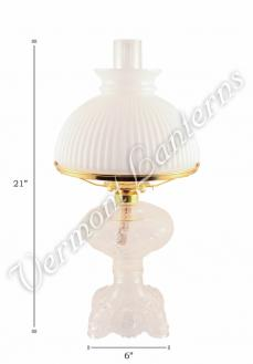 "Oil Lamps - Clear Glass ""Belvidere"" w/ Opal Shade 21"""