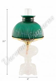 "Oil Lamps - Clear Glass ""Belvidere"" w/ Green Shade 21"""