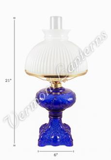 "Oil Lamps - Cobalt Glass ""Belvidere"" w/ Opal Shade 21"""