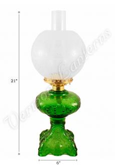 "Emerald ""Belvidere"" Hurricane Lamp w/ Ball Shade"