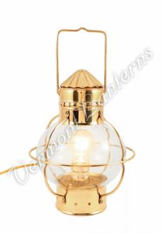 Electric Nautical Lamp - Brass Onion Lantern 10""