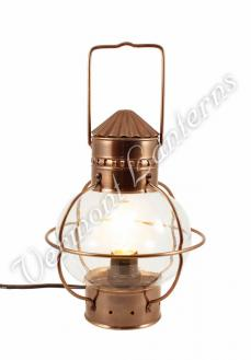 Electric Nautical Lamp - Antique Brass Onion Lantern 10""