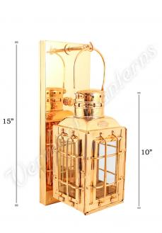 "Electric Lantern - Brass Chiefs Lamp - 10"" Custom Wall Mount"
