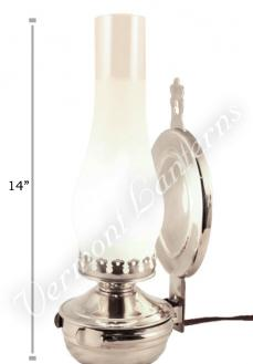 "Electric Wall Lantern - Large Nickel ""Mansfield"" - 14"""