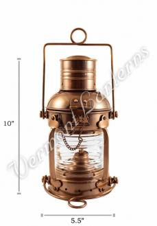Ships Lanterns - Antique Brass Anchor Lamp - 10""