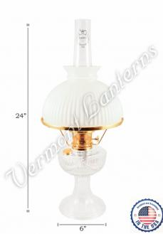 Aladdin Lincoln Drape Oil Lamp - Clear Glass w/Opal Shade 24""