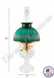 Aladdin Lincoln Drape Oil Lamp - Clear Glass w/Green Shade 24""