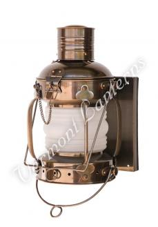 "Electric Lantern - Ships Lanterns Antique Brass Anchor Lamp - 19"" Custom Wall Mount"