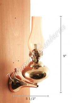"Wall Lamp - Brass ""Sterling"" 9"" - Amber Glass"