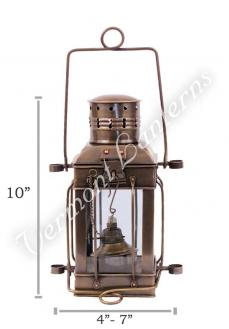 Oil Lamps - Antique Brass Cargo Lamp 10""