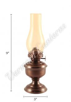 "Oil Lantern - Antique Brass ""Pico"" Table Lamp 9"" Amber Glass"