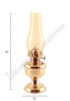 "Oil Lanterns - Brass ""Pico"" Table Lamp 9"" Amber Glass"