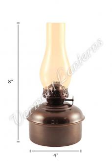 "Oil Lamps - Antique Brass ""Dorset"" Table Lamp - 8"" Amber Glass"