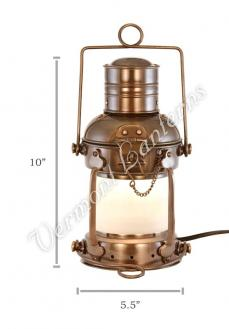 Electric Lantern - Ships Lanterns Antique Brass Anchor Lamp - 10""
