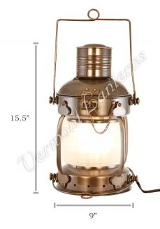 Electric Lantern - Ships Lanterns Antique Brass Anchor Lamp - 15.5""