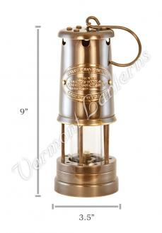 Oil Lantern - Antique Brass Coal Miners Lamp - 9""
