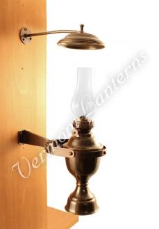 Yacht Lamp - Gimbaled Antique Brass Lantern with Smoke Bell - 12""