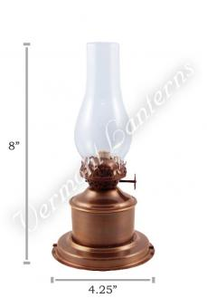 Oil Lamp Antique Brass Tanks - 8""
