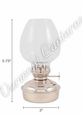Chrome Oil Lamps - Nickel Plated Brass Mini - 5.75""