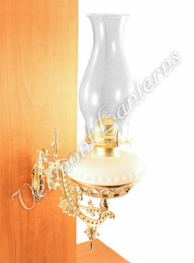 Hurricane Oil Lamps - Opal Glass w/Brass Wall Bracket