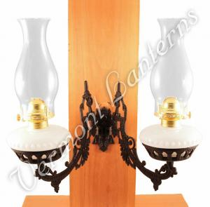 Dual Oil Lamp - Opal w/Cast Iron Bracket