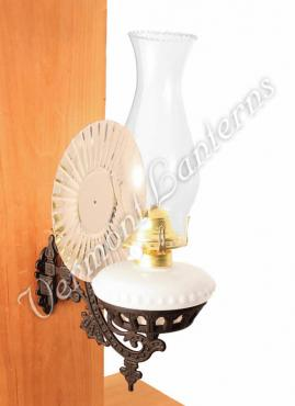 Wall Mounted Oil Lamp With Reflector : Victorian Oil Lamp - Opal w/Reflector Wall Mount Vermont Lantern Co.