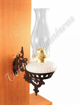 Oil Lamps - Opal Glass w/Cast Iron Wall Bracket