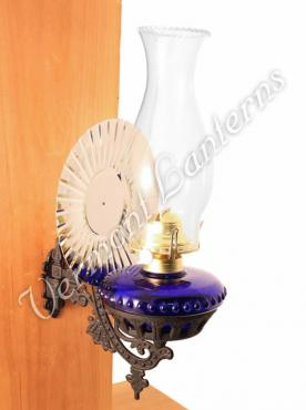 Victorian Oil Lamp - Cobalt w/Reflector Wall Mount