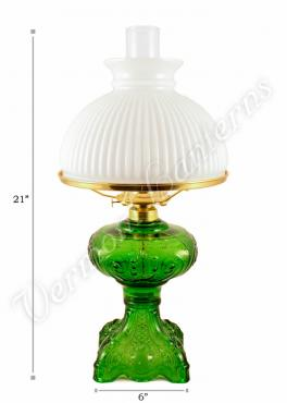 "Oil Lamps - Emerald Glass ""Belvidere"" w/ Opal Shade 21"""