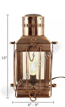 Electric Oil Lamps - Antique Brass Cargo Lamp 15""