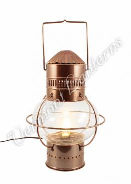 Electric Nautical Lamps - Antique Brass Onion Lantern 14""