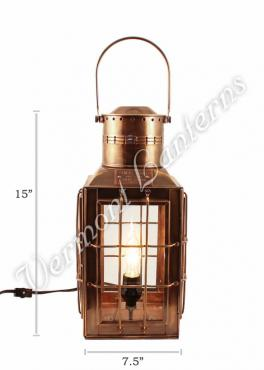 Electric Lantern - Ship Lantern Antique Brass Chiefs Lamp - 15""