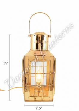 Electric Lantern - Ship Lantern Brass Chiefs Lamp - 15""