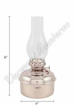 "Chrome Oil Lamps - Nickel ""Dorset"" Table Lamp - 8"""