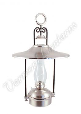 "Hanging Oil Lamps - Pewter ""Dorset"" 14"" w/shade"