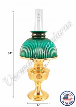 Aladdin Brass Heritage Oil Lamp w/Green Shade - 24""