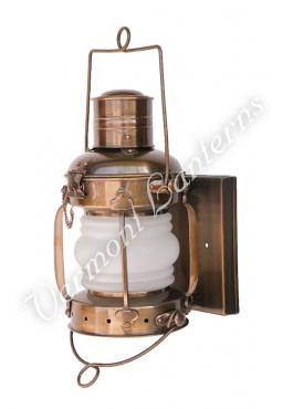 "Electric Lantern - Ships Lanterns Antique Brass Anchor Lamp - 12"" Custom Wall Mount"