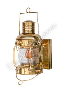"Electric Lantern - Ships Lanterns Brass Anchor Lamp - 12"" Custom Wall Mount"