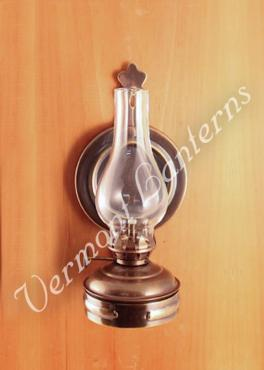 Wall Mounted Kerosene Lanterns : Oil Lamps - Antique Brass Mini Wall Lamp 6.5