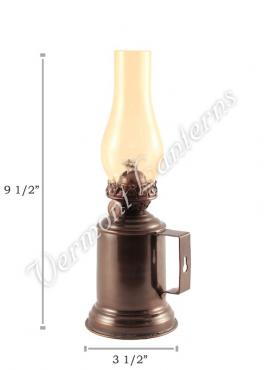 "Oil Lanterns - Antique Brass Tavern Mug Lamp - 9.5"" Amber Glass"
