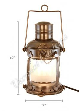 Electric Lantern - Ships Lanterns Antique Brass Anchor Lamp - 12""