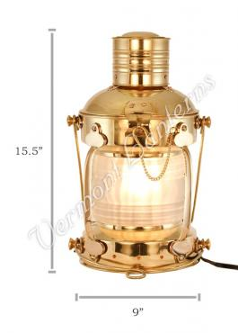 Electric Lantern - Ships Lanterns Brass Anchor Lamp - 15.5""